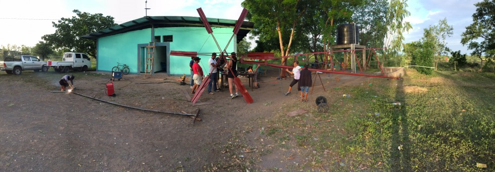 Windmill construction on the ground with Winds of Change in Pedro Arauz, Nicaragua